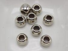 200 Silver Tone Metallic Acrylic Round Pony Beads 8X6mm Big Hole Spacer