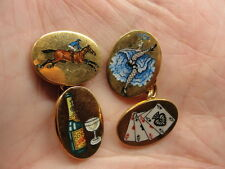 Estate 1970's D&F 18K Gold 4 VICES Double-Sided Hand-Painted Enamel Cufflinks