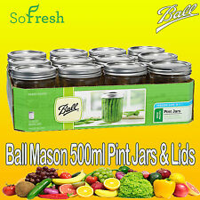 12 x Ball Mason Wide Mouth Pint (475ml) Jars And Lids BPA Free Weddings Candles