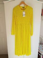 Entièrement neuf sans étiquette taille L Zara Polka Dot Robe Midi Maxi ecru jaune sold out
