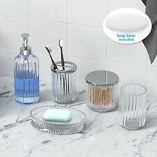 Bathroom Accessories Set 5 Pieces Glass Bath Accessory Collection Vanity