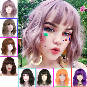 Short Wavy Bob Wigs With Bangs Synthetic Cosplay Wig For Women