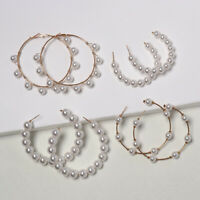 Women Girls Geometric  Hoop Earrings  White Simulated Pearl  Big Round Circle