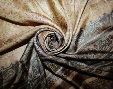 Indian Vintage Brown Saree Abstract Printed Pure Silk Crafts Decor Fabric Sari
