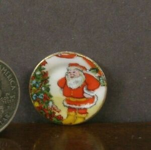 PORCELAIN  CHRISTMAS  COOKIE PLATE ~Dollhouse~ UK ~Marked~ 1:12 scale ~ Artisan