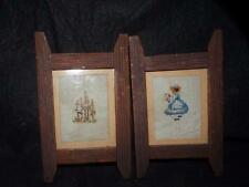 Pair Antique Framed Needlework Pictures In Great Wood Frames