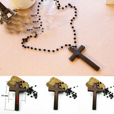 Unisex Cross Pendant Necklace Black Rosary Necklace All-Match Bead Long Necklace