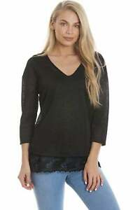 Camille Ex Marks & Spencer Womens Black Sparkly Top