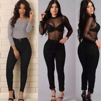 Fashion Women Pencil Stretch Casual Denim Skinny Jeans Pants High Waist Trousers