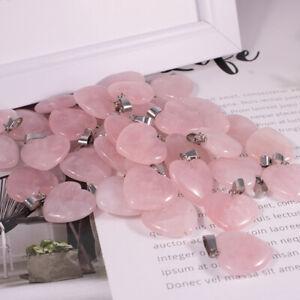 Charms rose quartz crystal natural stone necklace heart pendant 20mm 50pcs