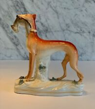 Antique Staffordshire Whippet Greyhound Hunting Dog w/ Rabbit