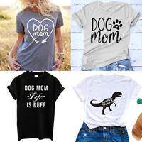Dog Mom T-shirt Heart Arrow Tees Women Funny Graphic Tops Dinosaur Tumblr Shirt