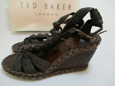 New Ted Baker Misty Knotted Wedge Espadrilles Boho Shoes Artsy Brown Size 8