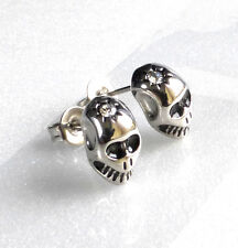 Men Boys New Skull Stainless Steel Cool Studs Earrings CZ Cubic 10x5mm 1 pair