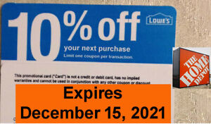20 Lowes 10% off for Home Depot Only Expires - December 15, 2021