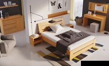 Schlafzimmer Möbel 3tlg. Set Bett Massivholz Nachttische 2x Betten Echtes Holz