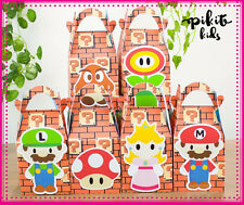 MARIO BROTHERS PARTY FAVOUR BOXES KIDS BIRTHDAY LOLLY BAGS SUPPLIES DECORATIONS