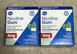 Lot of 2 Kroger Nicotine Gum 4mg 160 Pieces Coated Ice Mint Gum, Exp. 2022