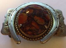 Vintage Silver Tone  Western Belt Buckle With Brown Stone