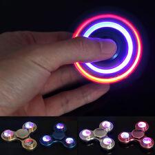 Aluminium LED Flash Light Tri-Spinner Hand Spinner Fidget Focus EDC ADHD Toys RK