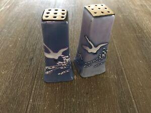 Antique Art Deco Blue Lusterware Salt & Pepper Shakers/Japan