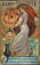 Halloween - Beautiful Woman JOL Black Cat c1910 Postcard