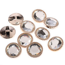 20 x 25mm Light Gold Round Glass Buttons Faceted Crystal Diamante Rhinestone
