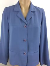 MAGGIE LONDON Petite Lined Button Front Jacket Blazer Lined Light BLUE Size 10P
