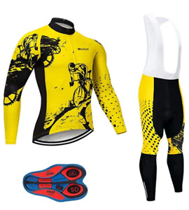 Big & Tall & Regular Men's Cycling Long Sleeve Set Bicycle Shirt + Bib Set