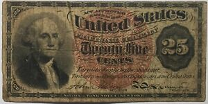 1863 Twenty Five Cents Fractional Currency  Washington Bank Note 25c