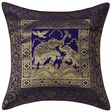 Indian Elephant Brocade Silk Sofa Cushion Cover Home Decor Pillow Case Throw