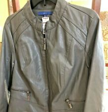 APT 9 Long Sleeve Imitation Leather Jacket X-Large Gray New