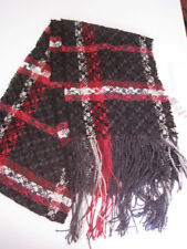 100% Super Soft Rayon Chenille Black, red  white Checked Scarf 11 x 40 in. NWT