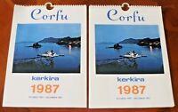 2 X Vintage Corfu Island Kerkira 1987 Calendars, Benitses, Kassiopi, Sidari.