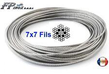 Câble inox 316 - A4  7X7 ( 49 fils ) Diamètre au choix 1mm 1.5mm 2mm 3mm 4mm