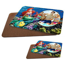 Personalised Disney Princess Ariel MDF Hard Backed Placemat & Coaster Set