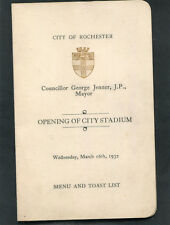 1932 Menu & Toast List for the Opening of the City Stadium, Rochester