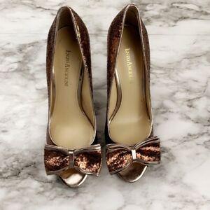 "Enzo Angiolini ""Mattia"" womens shoe gold glitter bow high heel peep toe size 7.5"