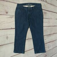 Old Navy Womens Ultra Blue Cropped Straight Leg Jeans Size 4 Mid Rise EUC