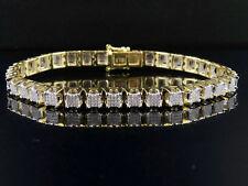 "10K Yellow Gold Men's Square Cluster Genuine Diamond Bracelet 2 CT 8.5"" 7MM"