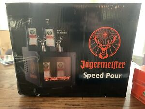 LikeNew Jagermeister Speed Pour (holds 4) With 12 New Shot glasses And Two Mats