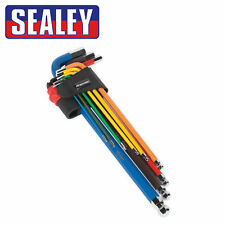 Sealey Premier Extra Long Ball-End Allen Hex Key Set 9pc Colour Coded Coated New