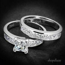 Silver Women'S Wedding Ring Set Size 4-11 3.75 Ct Princess Cut Cz 925 Sterling