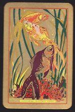 1 Single VINTAGE Swap/Playing Card EN FISH 'JAPANESE GOLDEN CARP JA-2-1' Gold