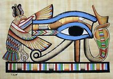 Egyptian Hand-painted Papyrus Artwork: The Eye of Horus King Tut's Tomb Signed