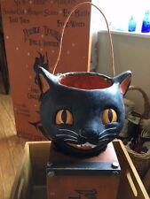 Vintage Style Primitive Paper Mache Black Cat Basket Sculpture LAST ONE