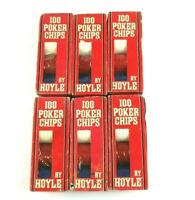 Lot of 600 Vintage Hoyle Red White and Blue Poker Chips (6 pks of 100) NOS