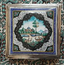 ANTIQUE PERSIAN SILVER & ENAMEL ISPHAHAN VANITY CIGARETTE BOX