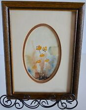 Original Art Watercolor Boudin's Wild Flowers Butterfly Wood Framed Wall Hanging