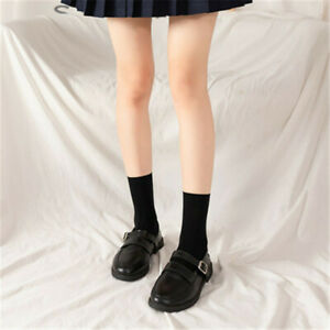 JK Woman Long Stockings Cute Short Socks Lolita Thigh Socks Knee High Sock Black
